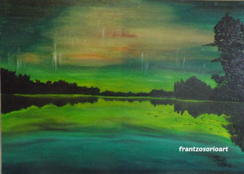 Aurore boréale Tableau Peinture à l'huileH50XL70