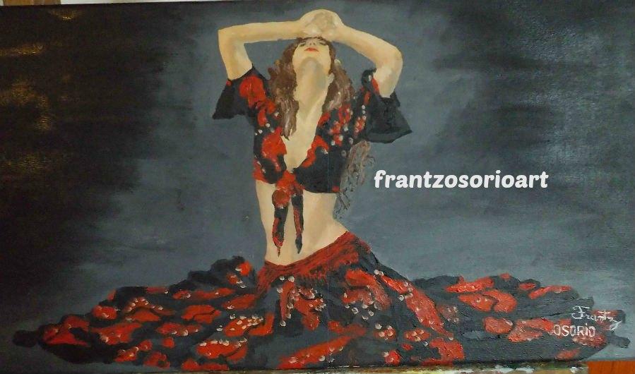 Danseuse flamenco Tableau peinture à l'huile H30 X L60