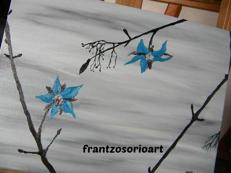Fleur de bourache Tableau Peinture à l'huile H30XL40