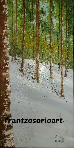 Foret de Taulat enneigé Tableau peinture à l'huile H60 X L30