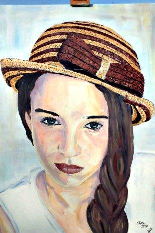 peinture huile jeune fille au chapeau de paille