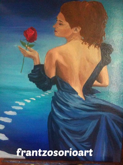 Passion femme en robe bleu